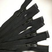 Open ended matte black zipper for garments